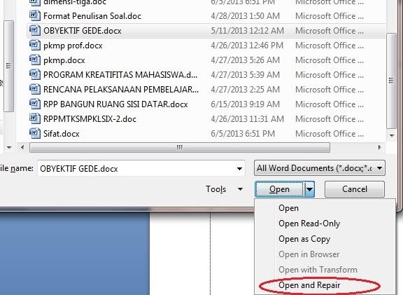 Cara Mengatasi File Microsoft Office Yang Corrupt Atau Rusak Gede